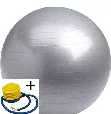 65 cm Quality Gym Ball Exercise Core Pilates Anti Burst Silver With Pump