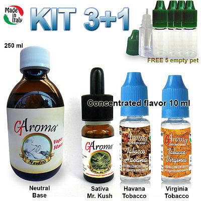 Kit svapo e-liquid base 250ml + Mix 3 aromi sigaretta elettronica  Made in Italy