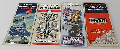 Lot Of 4 Vintage Road Maps Esso Gulf Mobil Phillips 66