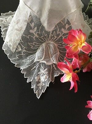 White Antique Linen And Lace Wedding Handkerchief