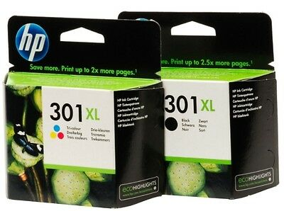 2 Cartuchos de tinta HP 301XL Tricolor + 1 Cartucho HP 301XL Negro