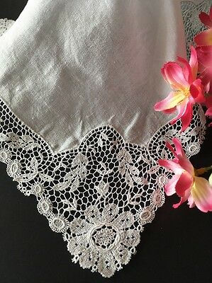 Antique White Linen And Lace Wedding Handkerchief