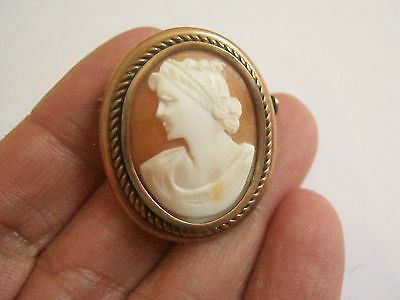 ancienne broche camée coquillage pl or pomponne/antique shell cameo brooch