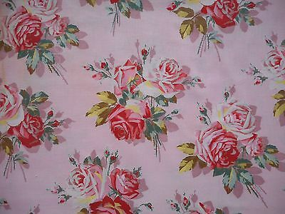 Pretty unused vintage cotton floral interiors fabric - 1M lengths, pink roses