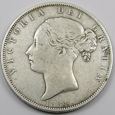 QUEEN VICTORIA YOUNG HEAD SILVER HALF- CROWN dated 1884