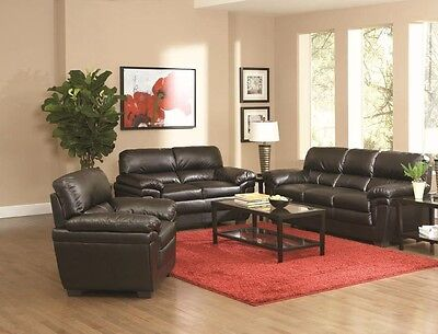 Swell Coaster 502951 502952 Fenmore Black Faux Leather Sofa And Pdpeps Interior Chair Design Pdpepsorg