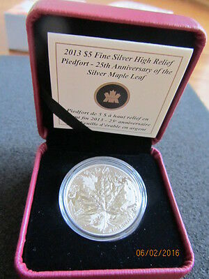 Maple Leaf 25th Ann. 2013 High Relief Piedfort Proof - 1 oz,Silber 9999/1000 RAR
