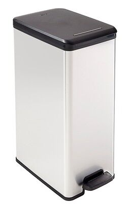 Curver Slim Line Stainless Steel Effect Plastic Pedal Bin No Rust Dents Kitchen