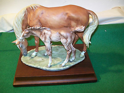 Kaiser limited edition thoroughbred mare with foal on stand with certificate.