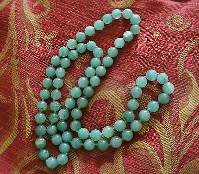 Long Antique Deco Apple Green Jade Bead Necklace 32""