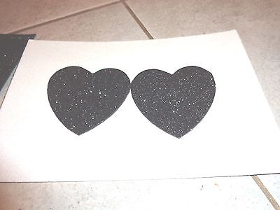 Womens Pasties/ Nipple Covers Water Resistant Black Glitter Hearts