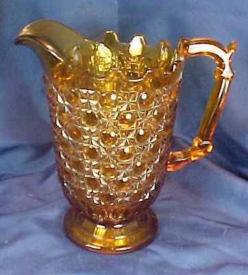 EAPG Findlay Glass Currier & Ives Milk Pitcher Amber Glass