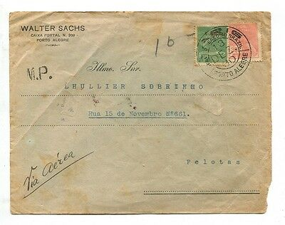 BRASIL VARIG airmail cover 1930 BRAZIL good PRIVATE AIR MAIL stamps # 9146