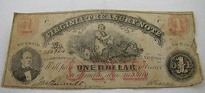 Antique 1862 One Dollar Virginia Note Fractional Currency