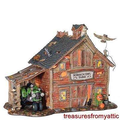 Dept 56 Halloween SCREECH OWL FARM + AN AX TO GRIND NRFB Lighted + Sound Village
