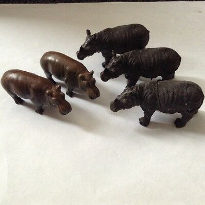 Collection of ZOO ANIMALS 2 Hippos and 3 Rhinos realistic solid plastic