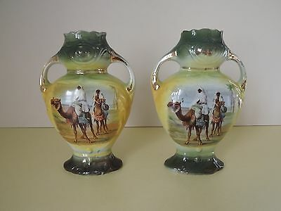Pair of Antique Twin Handled Vases with Transfer Printed Camel Scenes (L64)