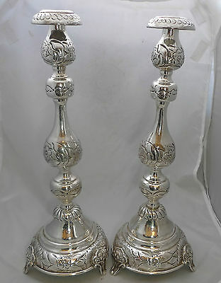 Edwardian Silver Sabbath Candlesticks J Zeving London 1916 1007g 40.5cm