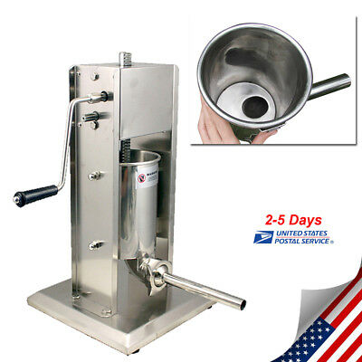 US Sausage Stuffer Vertical 5L/15LB 11 Pound Meat Filler 304 Stainless Steel NEW