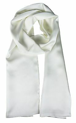 100% Silk Aviator / Motorcycle Scarf - White - Double Layer Pure Silk - (New)