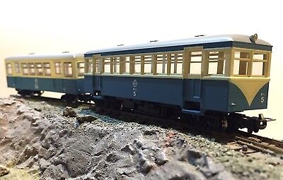 HOe 009 BLUE/CREAM RAILCAR AND TRAILER CAR - NEW HOn30 NARROW GAUGE