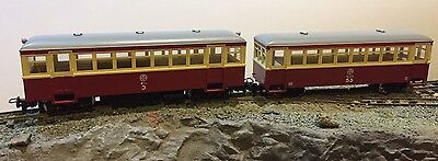 HOe 009 MAROON/CREAM RAILCAR AND TRAILER CAR - NEW HOn30 NARROW GAUGE