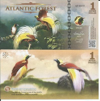 Atlantic Forest 1 Aves Dollar 2016 Lote De 5 Billetes