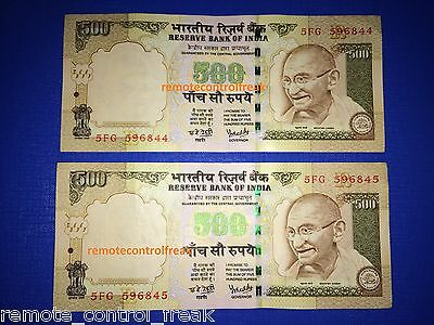 1000 Indian Rupees - 2 X 500 RUPEE NOTES - MINT COLLECTOR COLLECTION CONDITION
