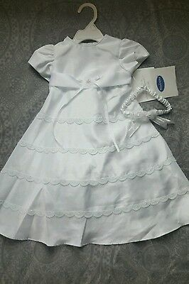 New Infant Baby Toddler Girl White Christening Baptism Dress Gown sizes 9-12mos
