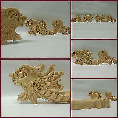 "Dragon Applique Carved Wood -Pair - 7 3/4"" W- 2 1/2"" H - 5/8"" D- ref19"