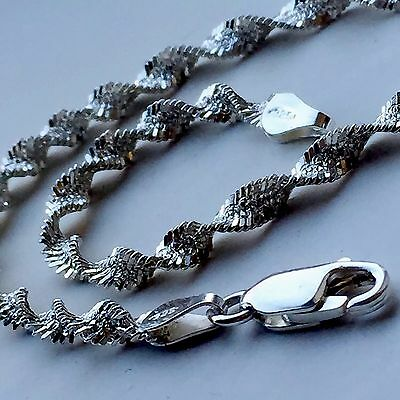 Vintage 925 Sterling Silver Twisted Herringbone Chain Bracelet 4mm 7 1/2 Inch