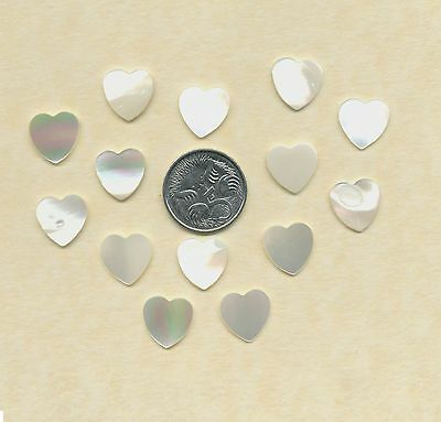 14 Mother of Pearl heart cabechons  (Y31)