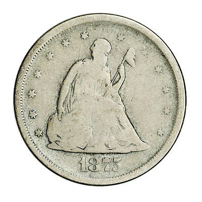 1875-S Twenty Cent (20c) Seated Liberty Coin, Small Rare Silver Coin [2963.05]