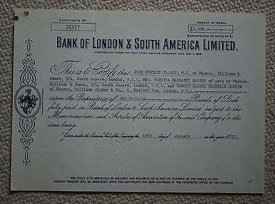 Bank of London and South America share certificate, once part of HSBC