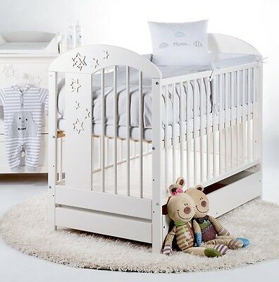 Nursery cot bed RADEK VII with drawer 120x60 white pine wood 3 adjustable levels