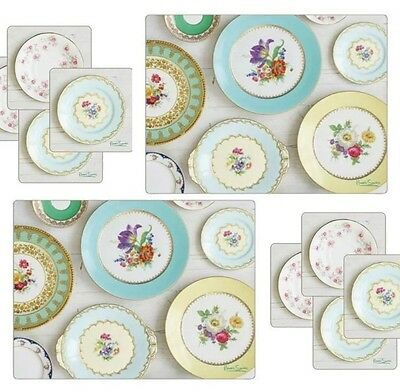 Set of 6 Placemats & 6 Coasters Table Place Setting Mats Shabby Chic Home Dining