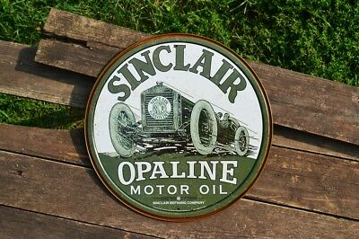 Sinclair Opaline Motor Oil Tin Metal Sign - Dino - Gasoline - Race Car - Gas