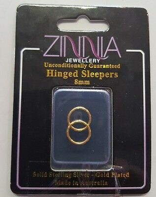 Solid 925 Sterling Silver Gold Plated Sleepers Either Faceted or Plain Edge