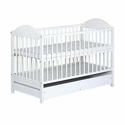 Nursery cot bed EWELINA with drawer 120x60 white pine wood 3 adjustable levels