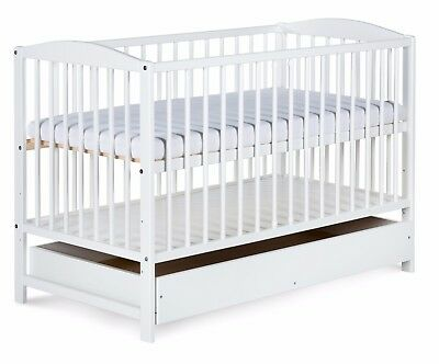 Nursery cot bed white RADEK II with drawer 120x60 pine wood 3 adjustable levels