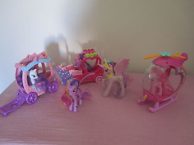 My Little Pony G4 bulk lot ponies x5 , Rarity + Apple Jack carriages, helicopter