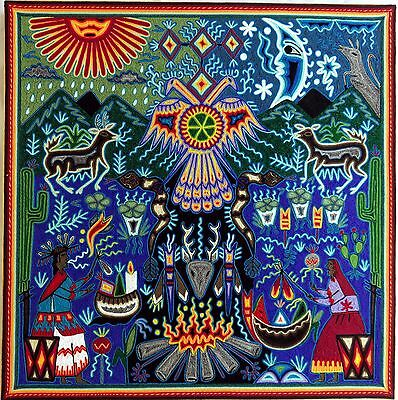 "23.5"" Mexican Huichol Yarn painting 60-044"