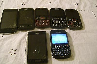 Lot of 7 Cell Phones FOR PARTS ONLY (Untested), LG-BLACKBERRY-SAMSUNG,etc