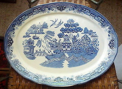 Vintage Willow Large Roast Plate Platter Blue & White - New: Never used