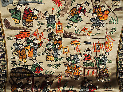 VTG Antique Chinese Embroidery 100 Happy Kids Fish School Musician Silk Panel #3