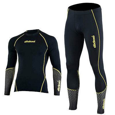 Didoo Mens Gym Running Base Layers Shirts Compression Tights Tops +Trousers Set