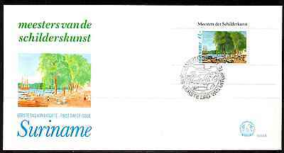 Suriname 1981 Fdc – P.i. Denoit, Paintings Mini Sheet #a0825