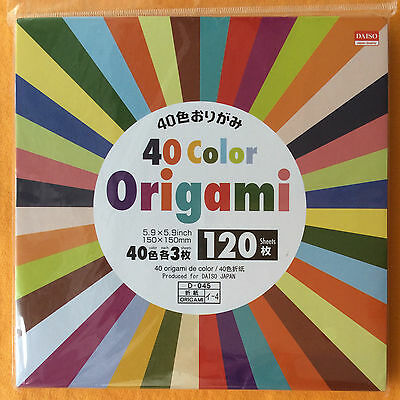 #04504 Daiso 40 Color Folding Origami Paper 120 Sheets NEW