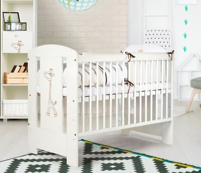 Nursery baby cot bed 120x60 motif giraffe colour white 3 adjustable levels