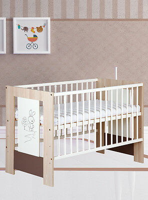 Nursery baby cot bed 120x60 motif Little Bunny colour cappucino 3 height levels